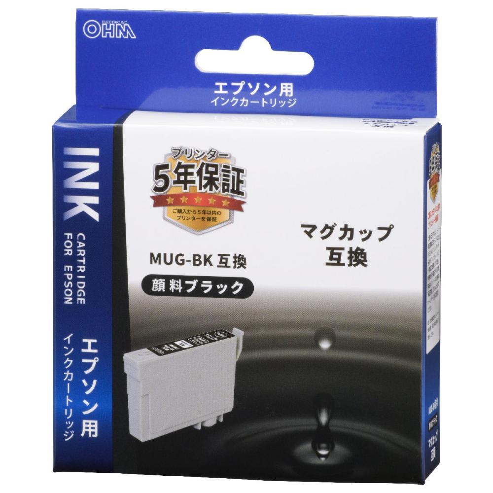 オーム電機 エプソン互換インクカートリッジ マグカップシリーズ ブラック INK-EMUG-BK