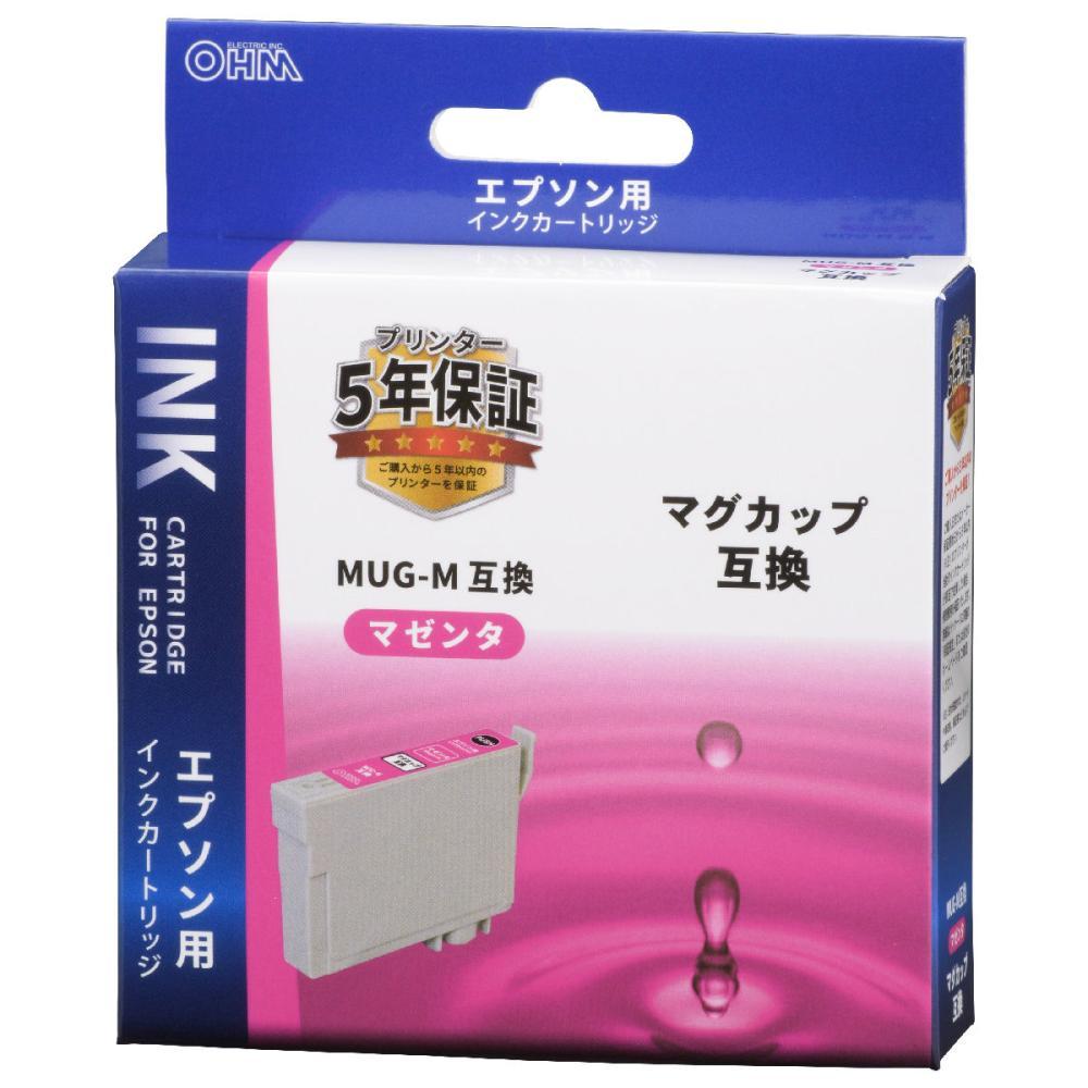 オーム電機 エプソン互換インクカートリッジ マグカップシリーズ マゼンタ INK-EMUG-M