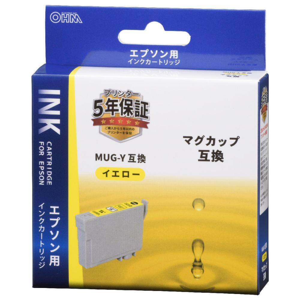 オーム電機 エプソン互換インクカートリッジ マグカップシリーズ イエロー INK-EMUG-Y