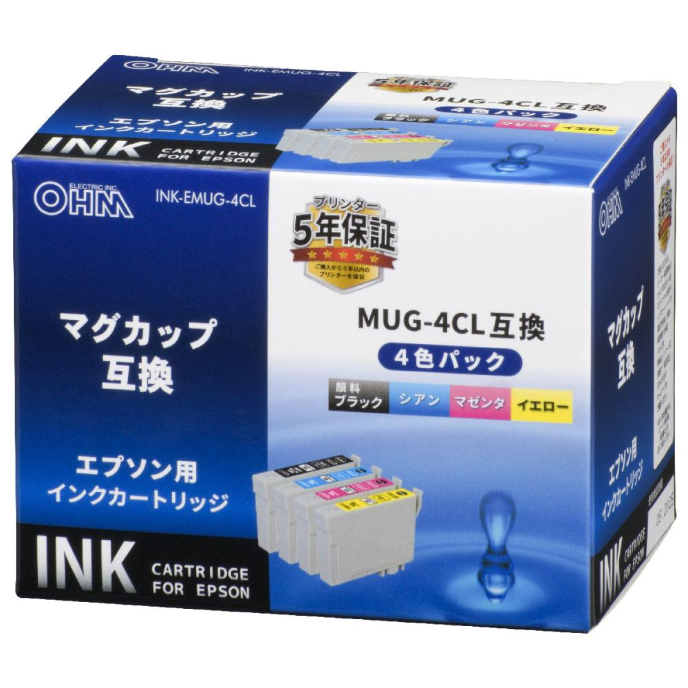 オーム電機 エプソン互換インクカートリッジ マグカップシリーズ 4色パック INK-EMUG-4CL