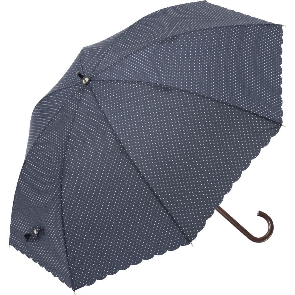 晴雨兼用 58cmジャンプ式傘 水玉 ヒートカット 紺