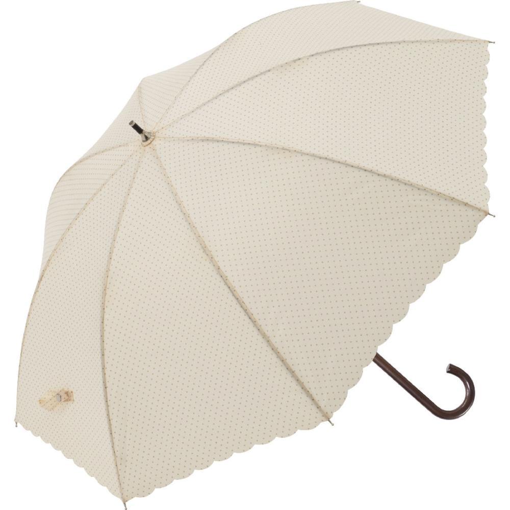 晴雨兼用 58cmジャンプ式傘 水玉 ヒートカット ベージュ