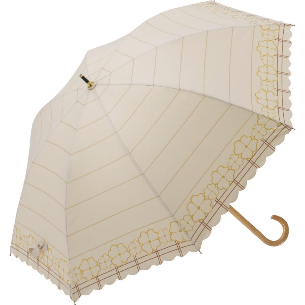 晴雨兼用 58cmジャンプ傘 ラインフラワー ベージュ