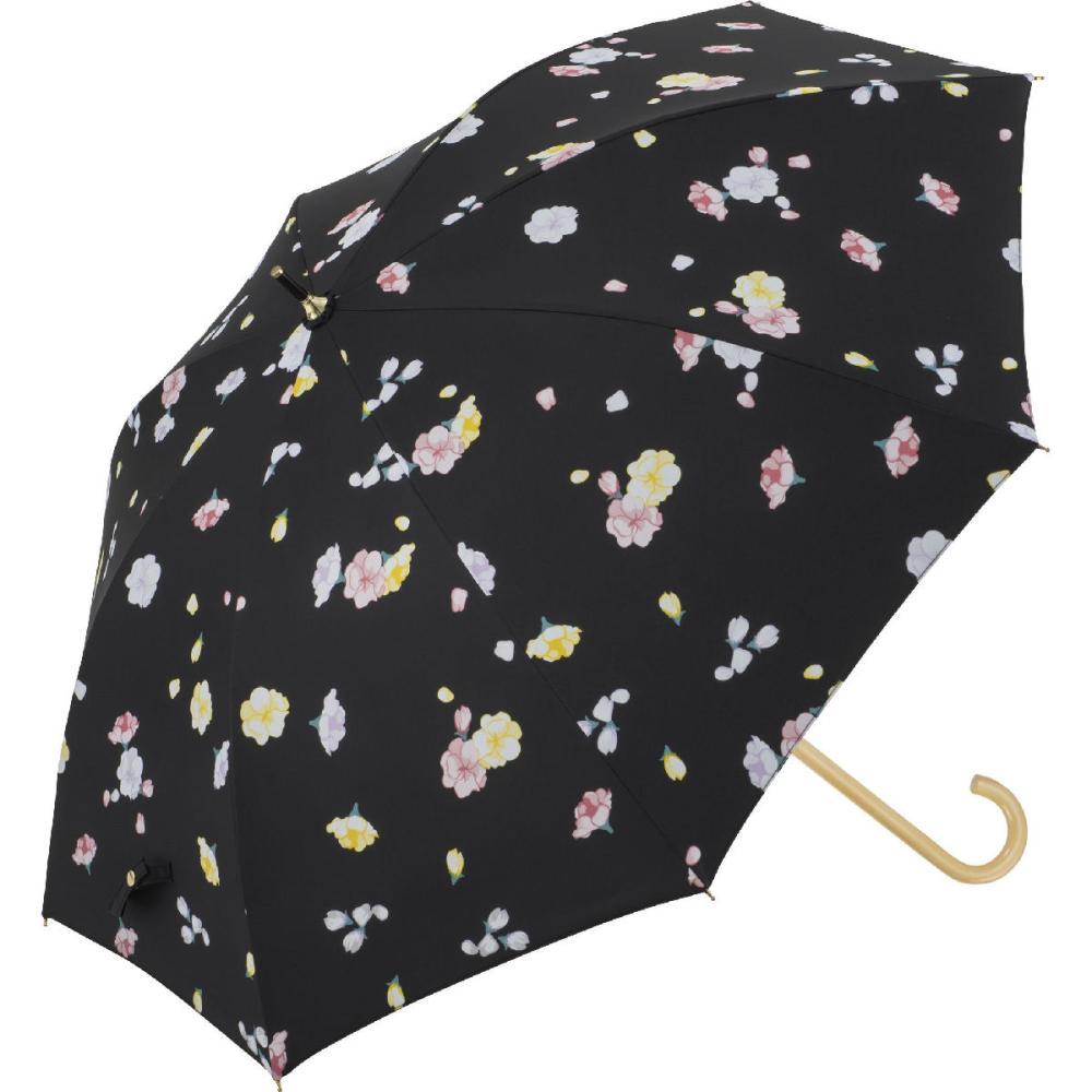 晴雨兼用 58cmジャンプ傘 フローラ 黒