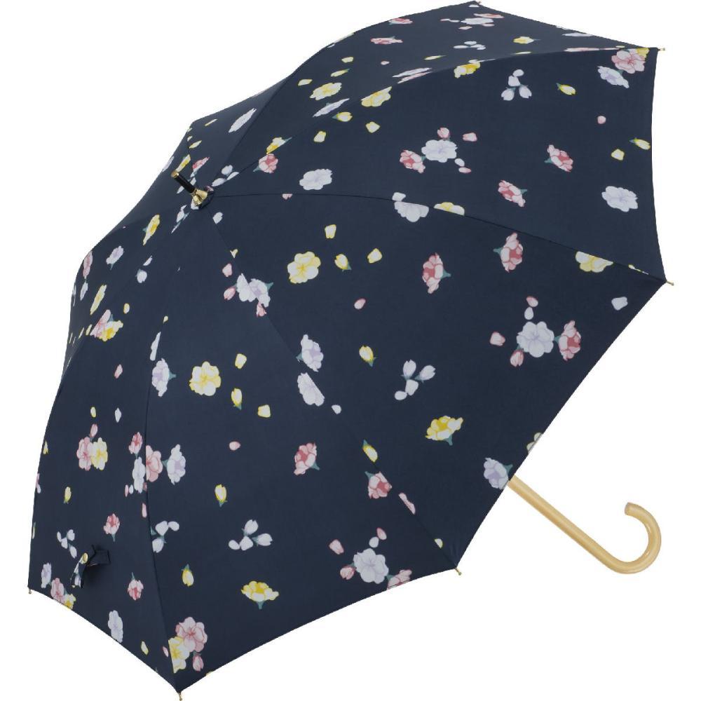 晴雨兼用 58cmジャンプ傘 フローラ 紺