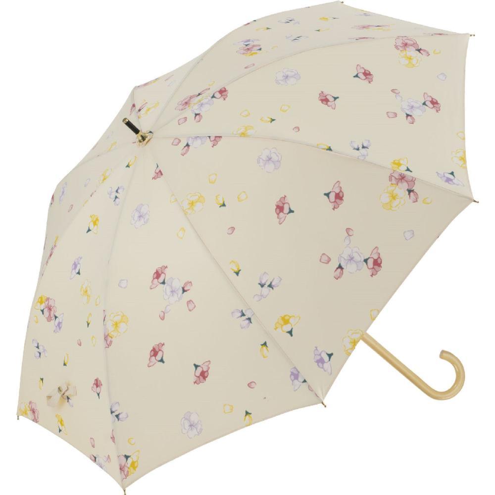 晴雨兼用 58cmジャンプ傘 フローラ ベージュ