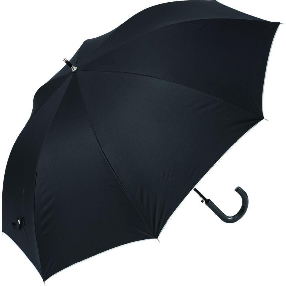 晴雨兼用 紳士65cmジャンプ傘 グラス骨 無地 黒