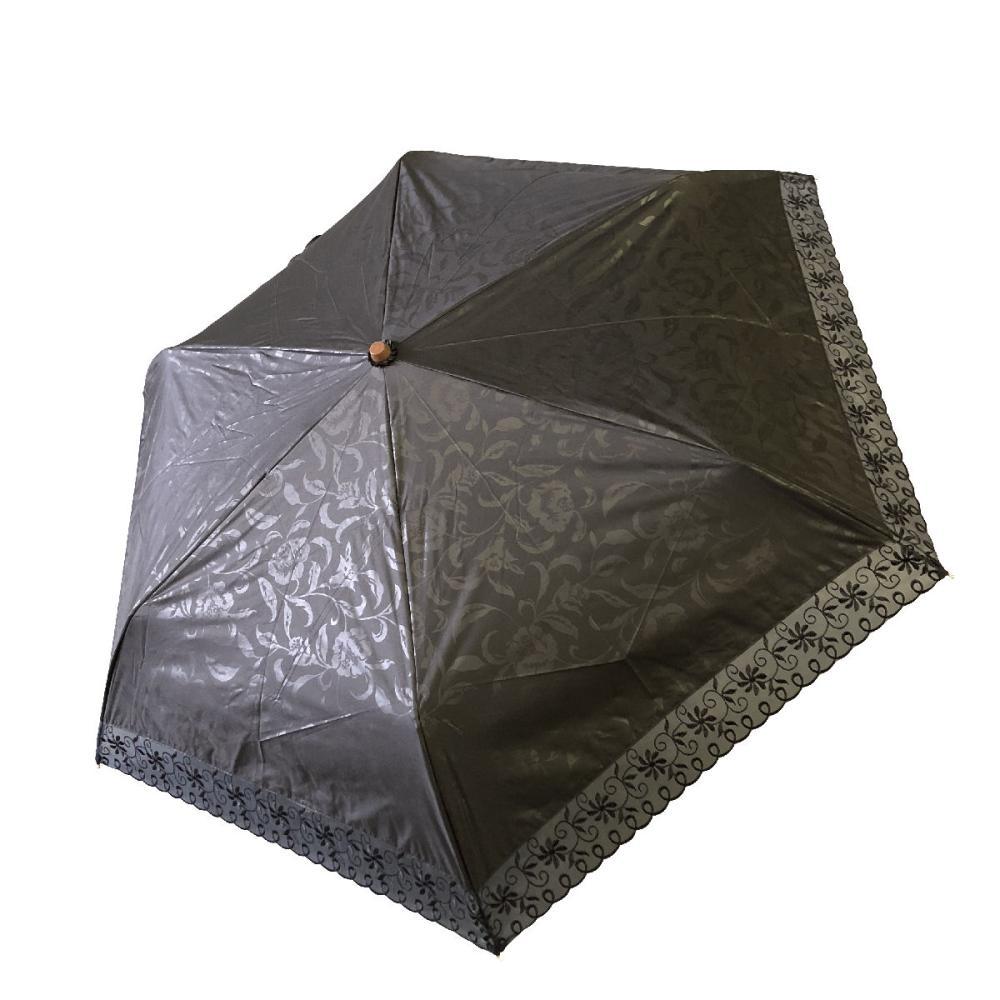 晴雨兼用 50cmミニ傘 オーガンジ刺繍 黒