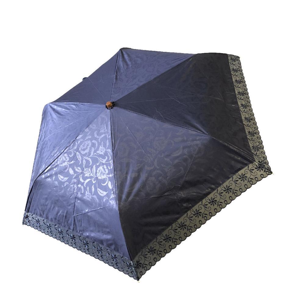 晴雨兼用 50cmミニ傘 オーガンジ刺繍 紺