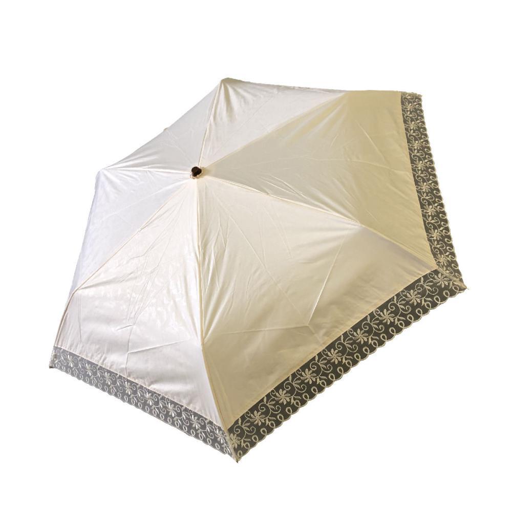 晴雨兼用 50cmミニ傘 オーガンジ刺繍 ベージュ