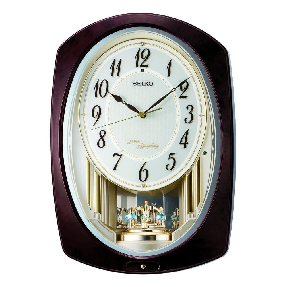 セイコー 電波アミューズ電波掛時計 濃茶マーブル塗装 AM265B