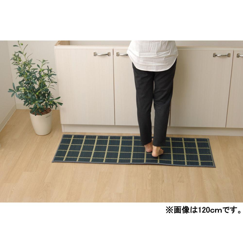 イケヒコ い草フリーマット チェック ネイビー 43×240cm