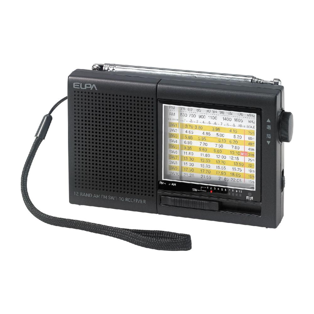 ELPA AMFM短波ラジオ ブラック ER-C74T
