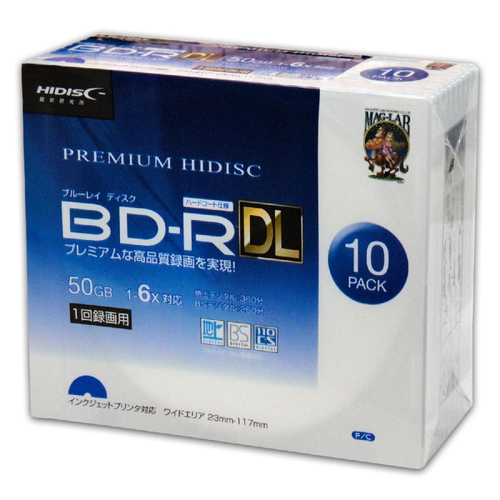 HIDISC 1回録画用 BD-R DL 6倍速対応 10枚スリムケース入り