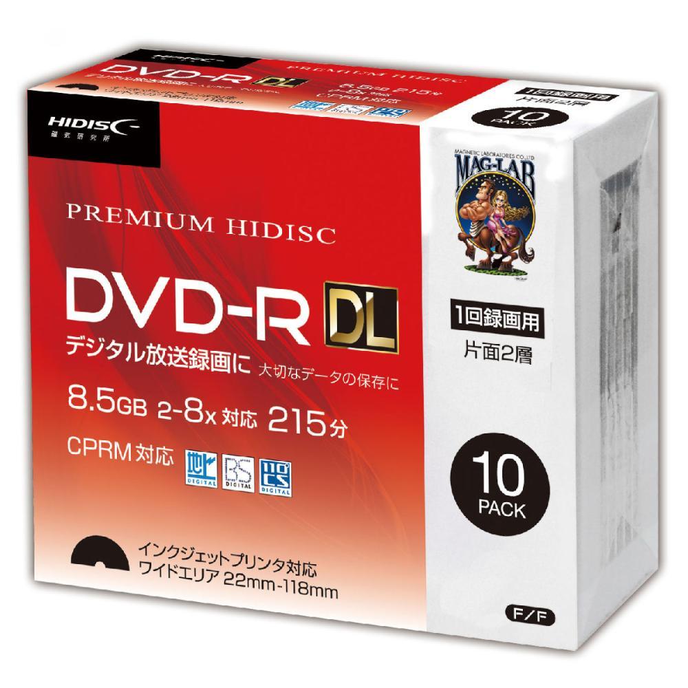 HIDISC 1回録画用 DVD-R DL 8倍速対応 10枚スリムケース入り