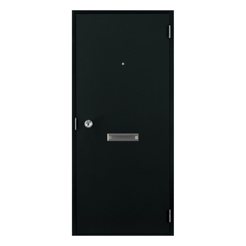LIXIL ロンカラーフラッシュドア ポスト付 握り玉仕様 本体のみ ブラック 07818