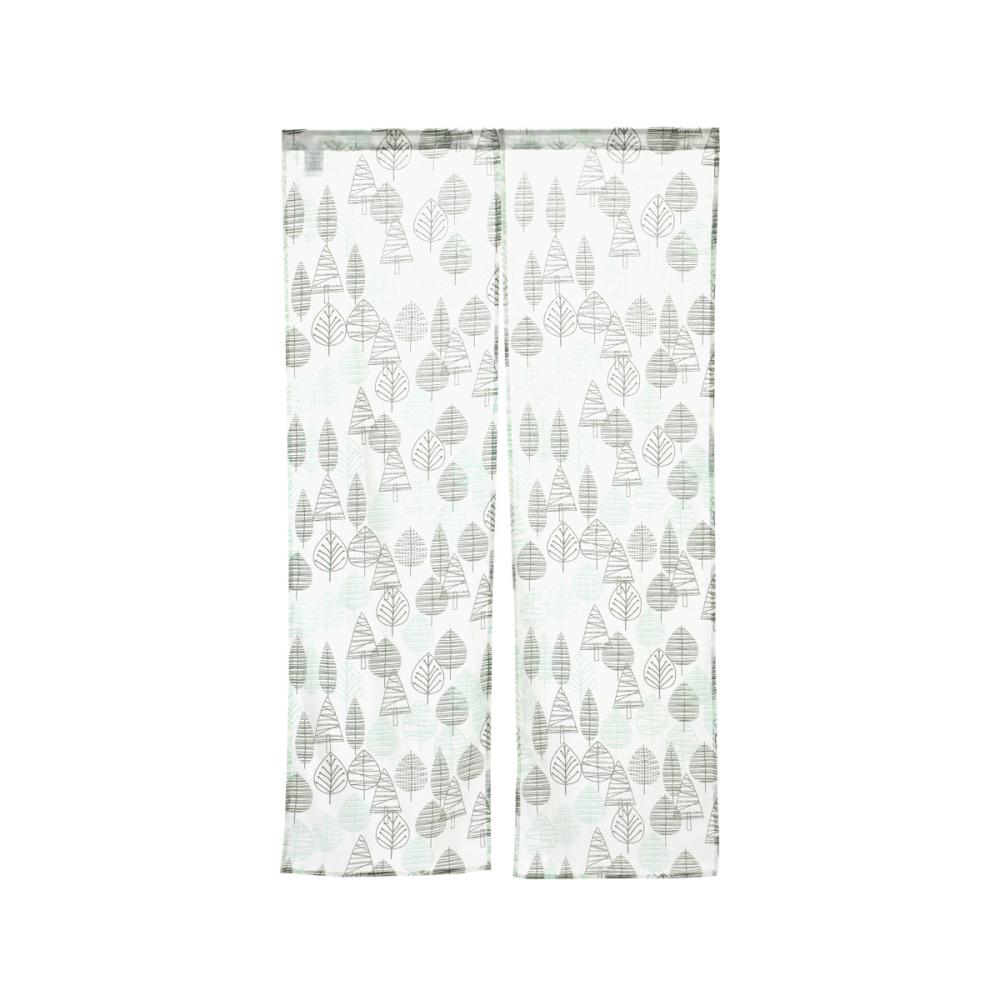 のれん リーフ&木立 グリーン 85×150cm