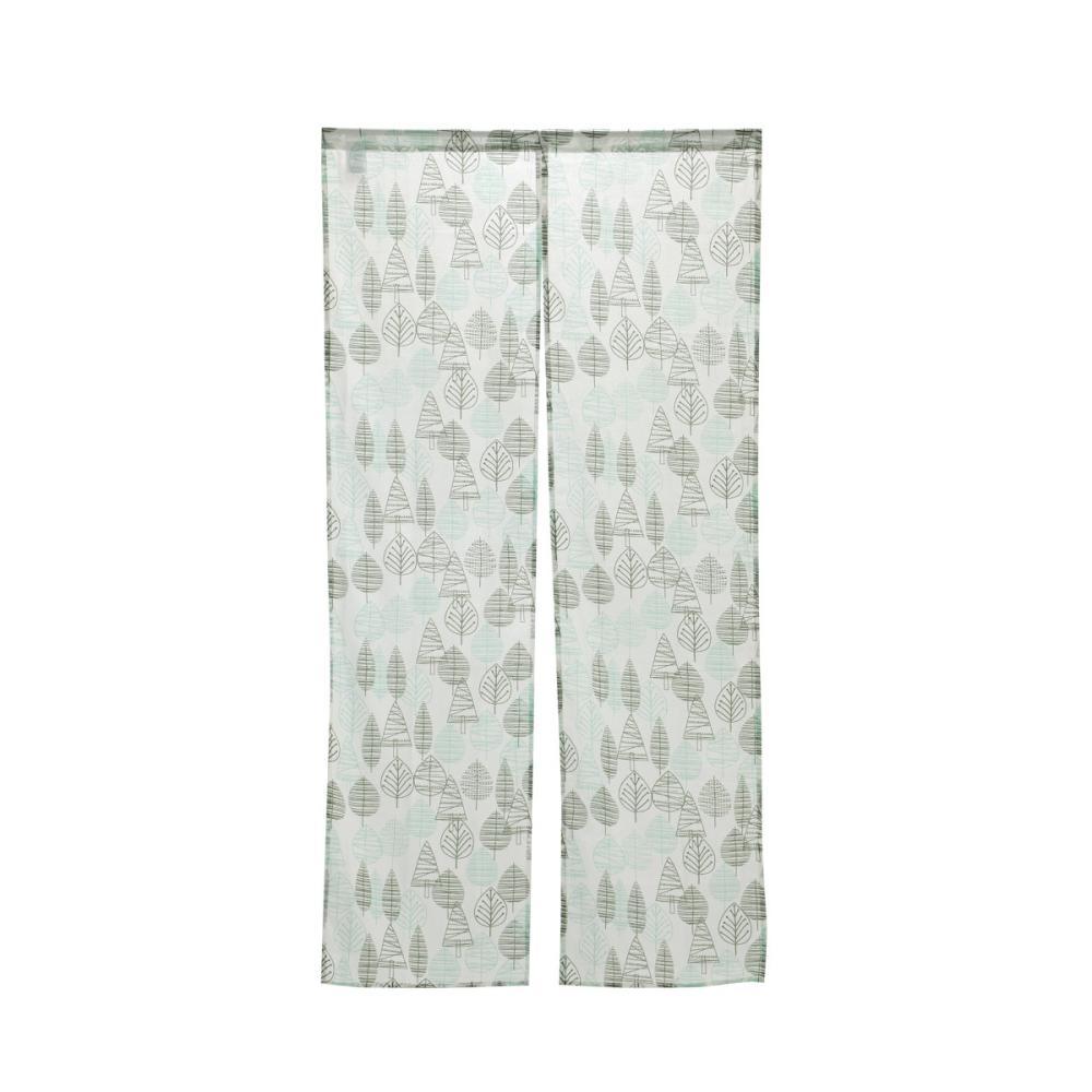のれん リーフ&木立 グリーン 85×170cm