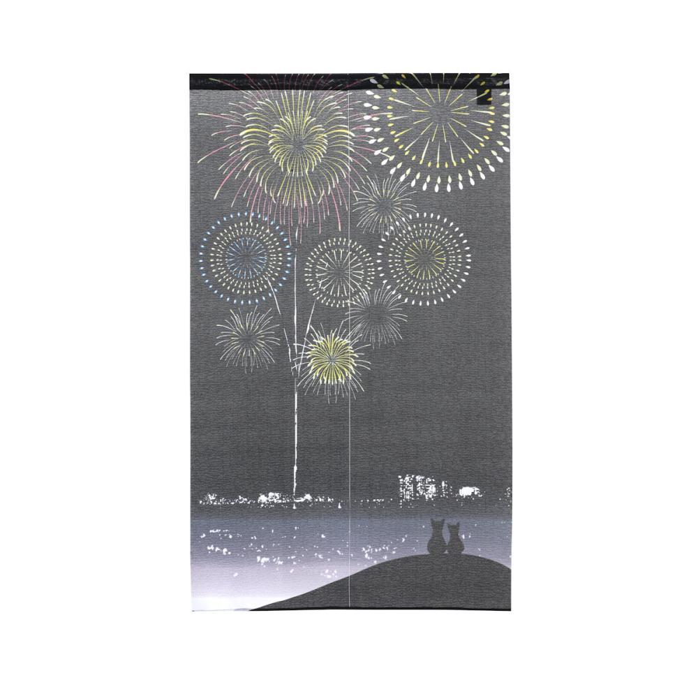 のれん 花火 ブラック 85×150cm