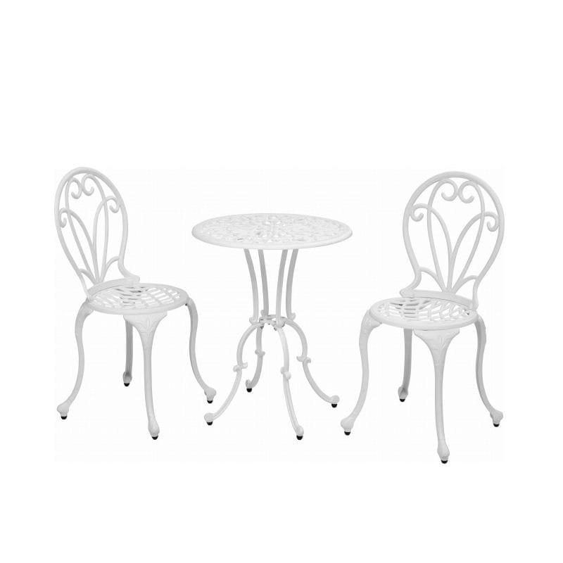 フロールカフェテーブル3点セット ホワイト IGF-TS01W