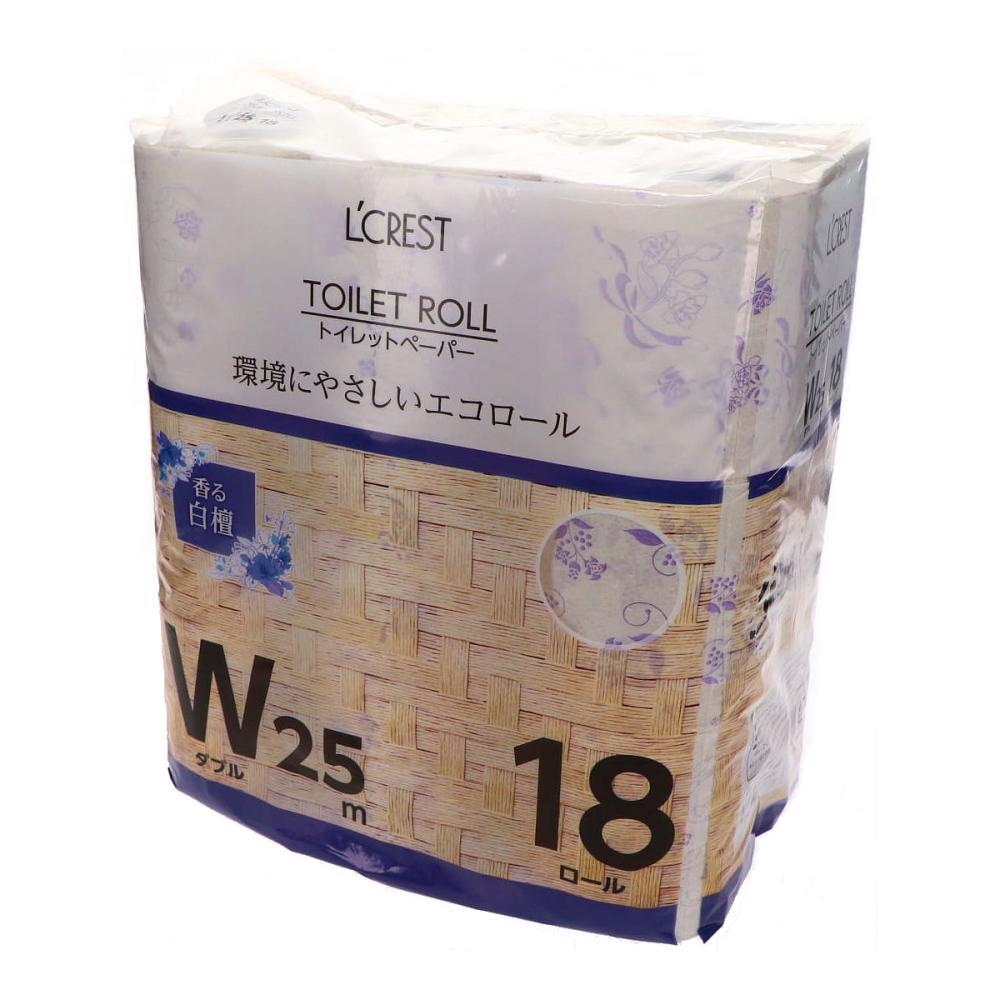 L'CREST(ルクレスト) トイレットペーパー ダブル 25m巻 18ロール入り 白檀の香り
