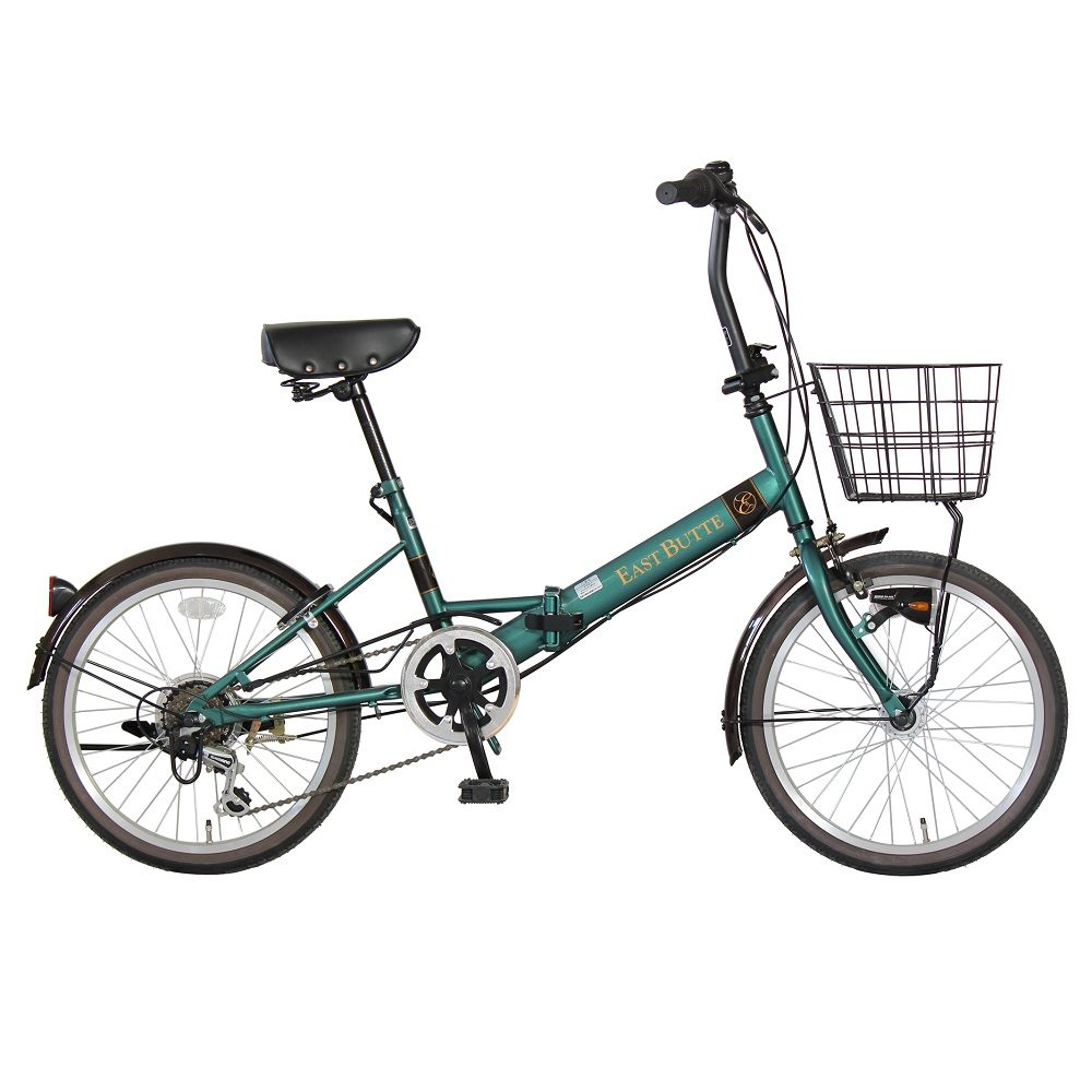 武田産業 折畳み自転車 イーストビュート 20インチ 外装6段変速 オートライト マットグリーン