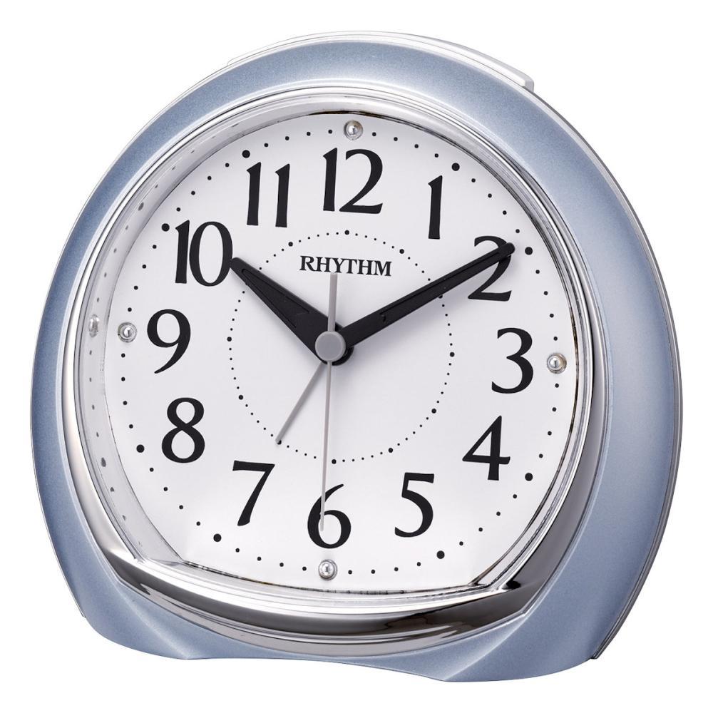 リズム時計 目覚まし時計 連続秒針 リフレ 青メタリック 8RE665SR04