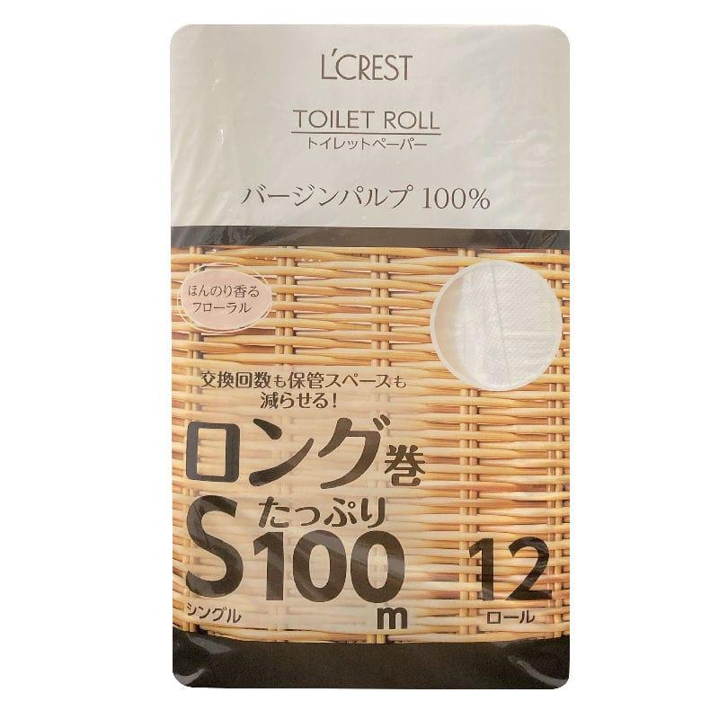 L'CREST(ルクレスト) トイレットロール ロング巻 シングル 12ロール入り