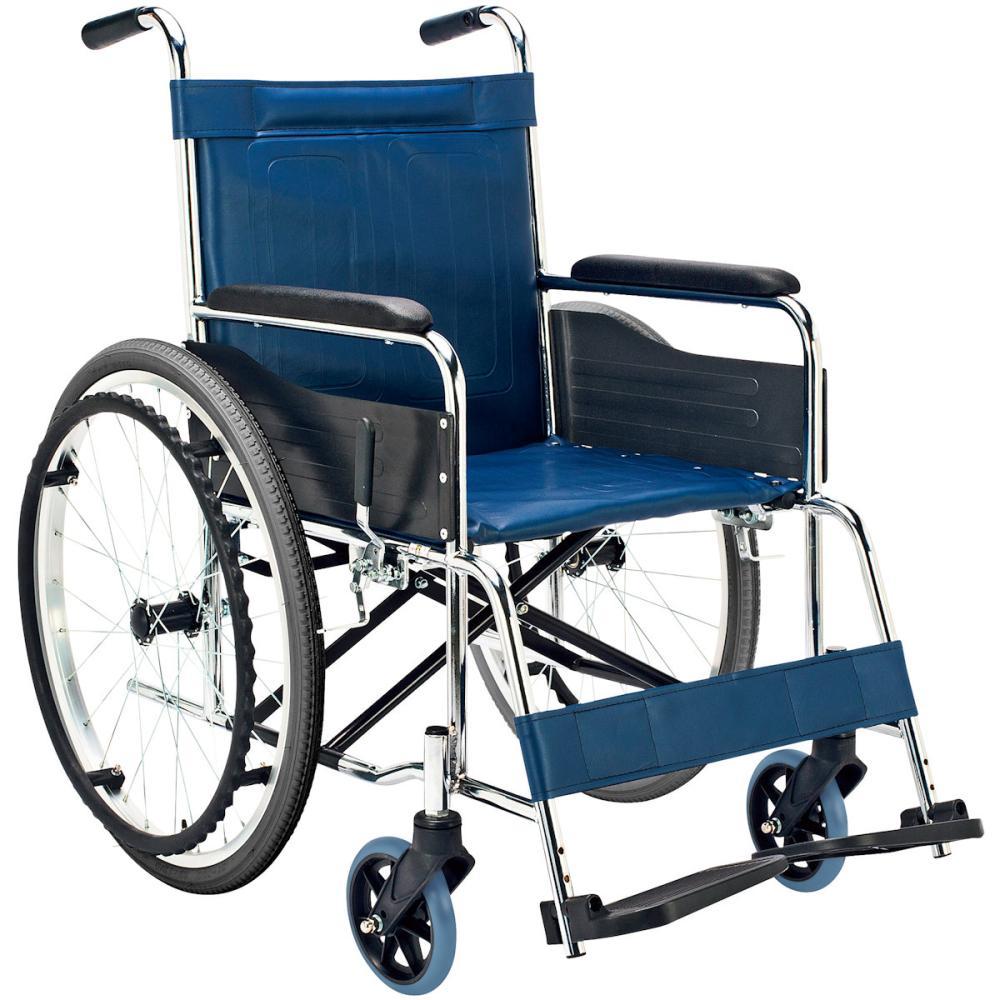 マキテック 車いす スチール製 自走式 背固定 紺 ビニールレザー地 EX-10BS