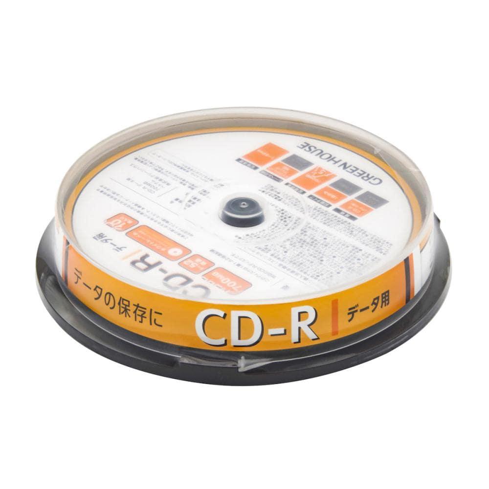グリーンハウス CD-R データ用 1-52倍速 10枚スピンドル