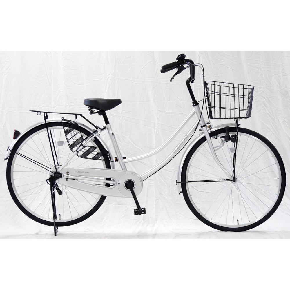 自転車 軽快車 LEDライト付 24インチ シルバー