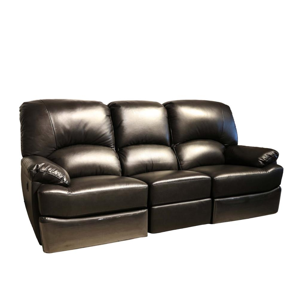 本革電動リクライニングソファー 3人掛 ブラック