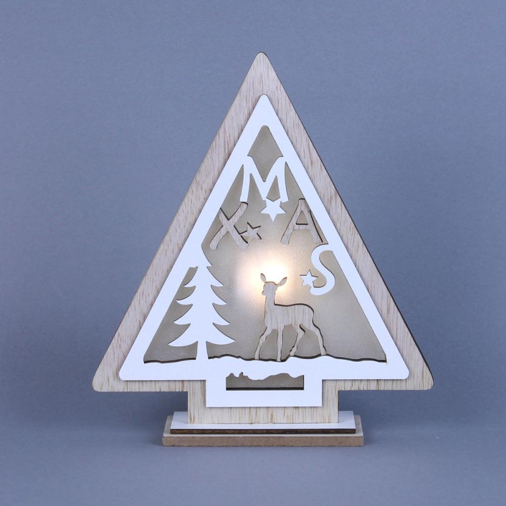 東京ローソク クリスマス オーナメント ウッドデコライト ツリー 17.5cm