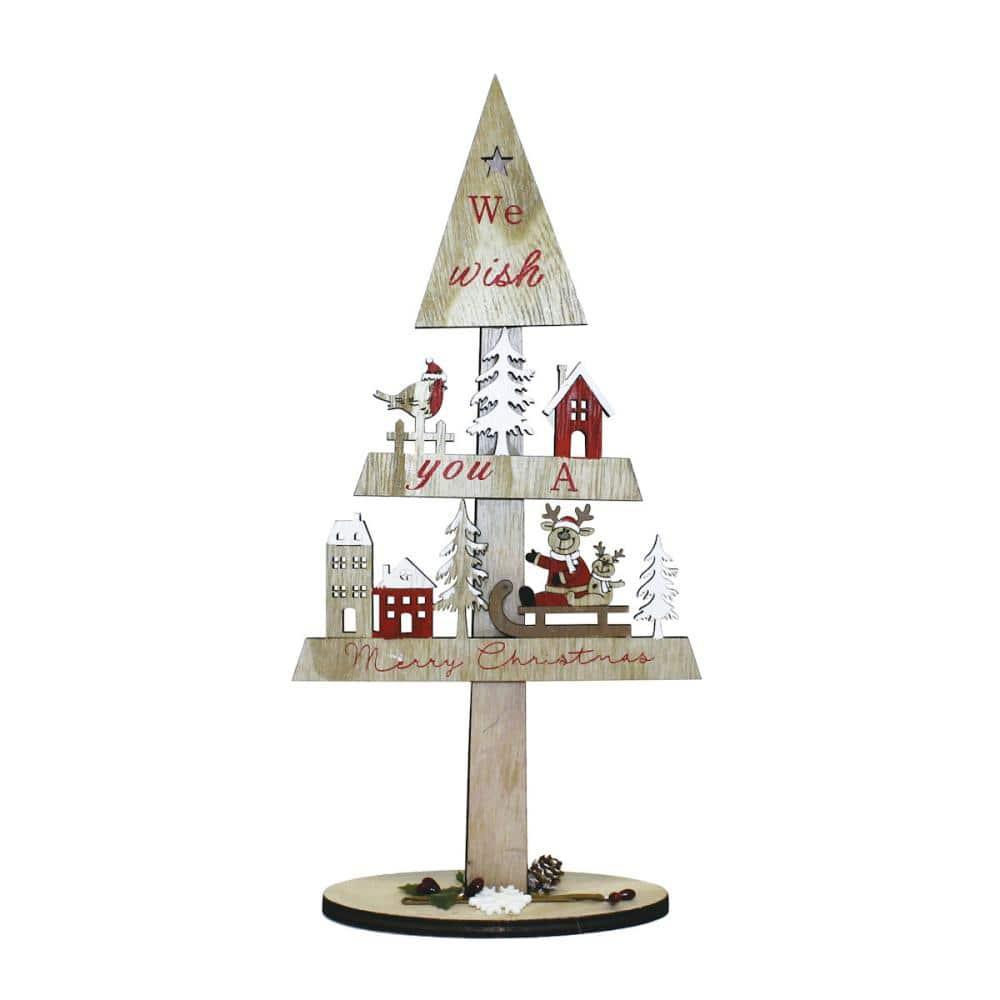 東京ローソク クリスマス オーナメント ウッドデコツリー バート&サンタ 31.5cm